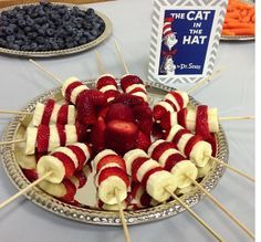 Baby shower food... with the book!.......... i'd maybe use marshmallows instead of bananas. The book/food idea can be used for appetizers for different tables if you are doing a bigger main course