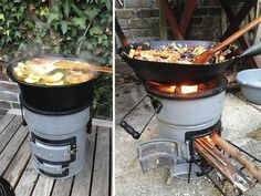 Cook a range of foods on this handy rocket stove. It shows no visible smoke and uses little fuel, making it efficient and clean! Comes highly recommended!