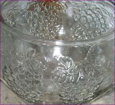 1980's Punch Bowl 18 pc. Set, Indiana Glass, Crystal Happenings, Grapes Pattern, Pressed Glass, Vintage, Cup Hooks & Ladle, Party Supplies by BackStageVintageShop on Etsy