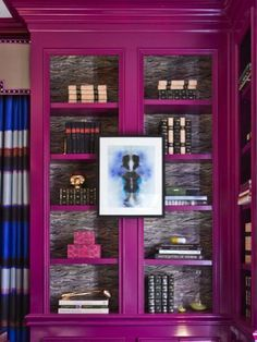 Try a hot, bold color in an unexpected way. A traditional bookcase in bight pink. Be brave. Experiment. #home decor #pink #interior design