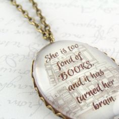 Literary Glass Necklace  Book Quote  She Is Too by JezebelCharms, $35.00
