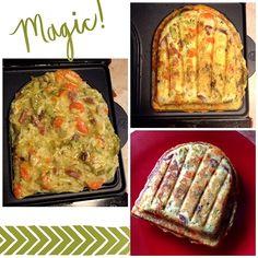 Quiche aux légumes et lardons cuit dans l'appareil à croque monsieur. Réalisée avec un reste de poêlée de légumes carottes brocolis, j'ai ajouté des oeufs, des lardons, du gruyère rapé, un peu de fécule et du fromage blanc, un mélange d'herbes à la l'ail...