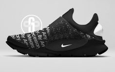 La Nike Sock Dart imaginée dans un colorway By Any Means Necessary black inspiré de la collaboration entre The North Face et le shop américain Supreme
