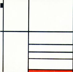 """Piet Mondrian  Composition with Red and Black  Painted in 1936  Oil on Canvas, 23 1/4"""" x 22 1/4"""""""