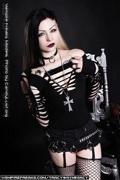 #Vampirefreaks model Tracey Wayne Gacy doing a Black Sabbath shoot by Candylust.org