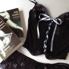 NWT! Sexy corset lingerie Corset top with thong: black with purple design.  Books not included. Intimates & Sleepwear