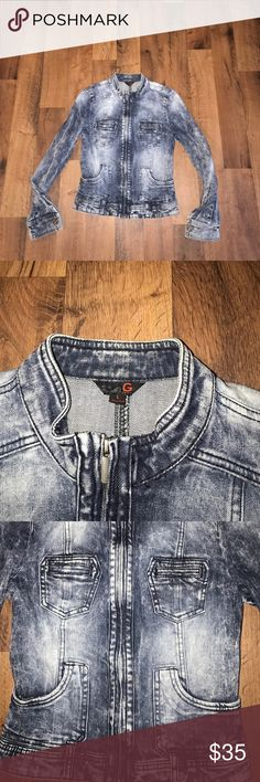 Small Guess Full Zip Acid Wash Denim Jean Jacket Excellent condition G by Guess Jackets & Coats Jean Jackets