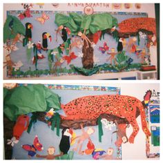 April---Rainforest unit. The kids always love when we make the jaguar. Lots of animals and habitats to explore in the Rainforest.