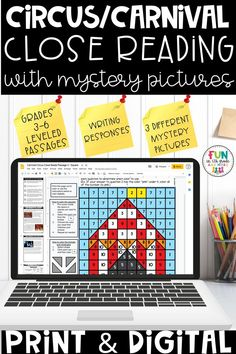 These engaging reading activities come in digital or print & go form and are perfect to use during distance learning time or in the classroom!Carnival & Circus themed close reading includes high interest passages that will have you students WANTING to read! These passages will improve your students reading comprehension skills because they will be engaged and think reading is fun.This reading activity includes mystery grids that will help teach your students to read the close reads several times