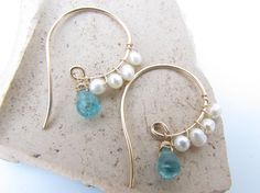 Small Gold Hoop Earrings Gold Spiral Earrings Pearl by ShaiHarel, $55.00