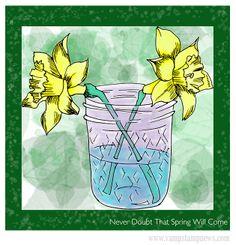 Digital Stamp Daffodil Card (Daffodils in Jar: The Frugal Crafter)