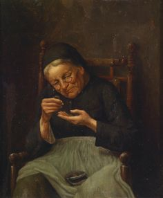 Counting her money by German artist, Johann Georg Meyer von Bremen (1813 - 1886)