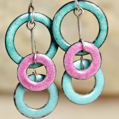 I'm Seeing Circles Aqua and Rose Copper Enamel by tekaandzoe, $38.00