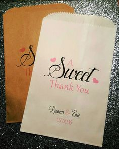 A Sweet Thank You Wedding Candy Bag Wedding by ForeverYoursDezigns