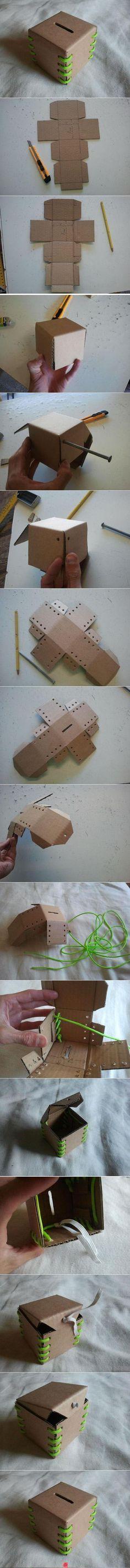 DIY Cardboard Lace-Up Bank