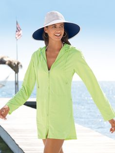 Our customers give this Cover-Up rave reviews. Here's why: princess seams, hip-covering length (this generated a lot of appreciation), sun protective hood with drawstring, two front zippered pockets for stashing items, full-front zipper for easy in-and-out, and underarm mesh for steady airflow. Plus, it's versatile enough to be worn as a tunic-length jacket. A day at the beach or a walk to the store never looked so good.