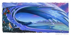 Surf Art: This high quality art poster print from Chris Lundy's titled Wave #1 (Bee) is now available from Chris Lundy's art portfolio collection.