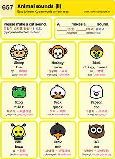 Korean Language 337418197067661096 - Learn Korean: Animal Sounds II Source by jhoniphone Learn Basic Korean, How To Speak Korean, Korean Words Learning, Korean Language Learning, Learn Korean Alphabet, Korean English, Learn Hangul, Korean Writing, Korean Phrases
