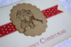 Christmas Card  Stamped Vintage Inspired  Wishing you by wkburden, $2.25