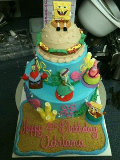 Adriana's 4th Birthday cake! Spongebob, of course an ice cream cake!