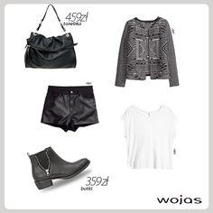 Sztyblety to absolutny hit sezonu! Propozycja marki Wojas to obuwie zdobione srebrnym zamkiem (3581 – 51). Sztyblety doskonale współgrają z czarnymi shortami, białym T-shirtem oraz bawełnianym kardiganem. Całość uzupełnia modna składana torebka Wojas (3905-51).