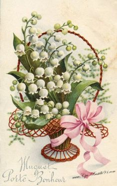 vintage card lilly of the valley Vintage Pictures, Vintage Images, Vintage Flowers, Vintage Floral, Flower Prints, Flower Art, Valley Flowers, Vintage Greeting Cards, Vintage Easter