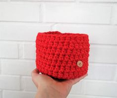 Crochet red box (made of cotton rope 5 mm with core - high quality cotton made in EU).  This Basket is perfect to organize cosmetics jewellery accessories sweets candies and whatever you need :) It could be also the decorative flower pot.   Available the red one with diameter 6  (15 cm)