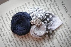 Navy and Silver Rosette Hair Clip with fabric leaf by Brydferth, $34.00