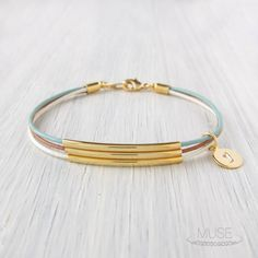 3 Gold Bar Leather Bracelet