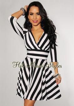 Black White Stripes Key-Hole Back Swing Dress