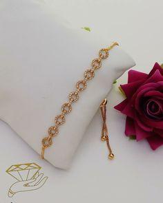18kt Yellow Gold Pink Hanging Flower Bracelet 6########