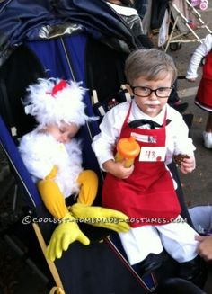 Cute Homemade Colonial Sanders and Chicken Children Costume - I already have the chicken costume!!