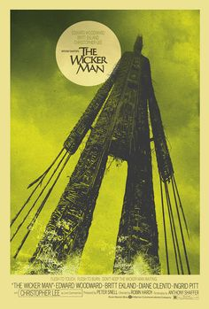 The Wicker Man - 1973 British mystery horror film directed by Robin Hardy Horror Movie Posters, Best Movie Posters, Cinema Posters, Movie Poster Art, Horror Films, Horror Art, Art Posters, Vintage Posters, Cult Movies