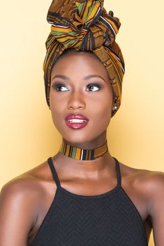 In the headwraps became a central accessory of Black Power's rebellious uniform. Headwrap, like the Afro, challenged accepting a style once used to shame African-Americans. African Beauty, African Women, African Fashion, Ankara Fashion, Hair Wrap Scarf, Hair Scarf Styles, Moda Afro, Mode Turban, African Head Wraps
