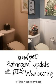 Budget Half Bathroom Update - DIY Wainscoting See how I took my half bathroom from builder-grade drab to beautiful! Fresh paint and custom DIY wainscoting make this bathroom fresh and bright. Old Bathrooms, Cheap Bathrooms, Bright Bathrooms, Small Half Bathrooms, Architecture Renovation, Home Renovation, Bathroom Renovations, Home Remodeling, Bathroom Makeovers