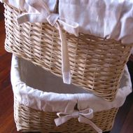 canastas de mimbre forradas con manta