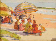 Mabel May Woodward Oil Painting of a Beach Scene - For sale on Ruby Lane