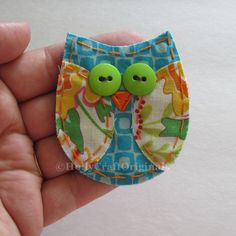 Owl Applique, Owl Scrapbooking Embellishment, Fabric Owl, Owl Embellishment, Scrap Fabric Owl, Scrapbook Owl. $4.00, via Etsy.