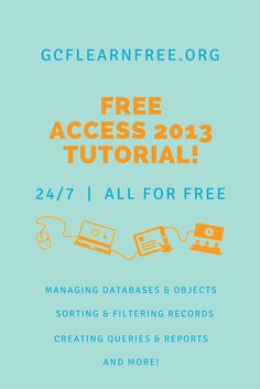 Access 2013 is a relational database application in the Microsoft Office 2013 suite that lets you enter, manage and run reports on large amounts of data. In this tutorial from GCFLearnFree.org, you'll learn the essential skills needed to use a database, including entering data into forms and tables, running queries to search data, and producing meaningful reports.