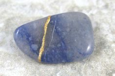 Kintsugi (kintsukuroi) blue aventurine tumbled stone with gold repair - OOAK by A Kintsugi Life