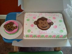 Pink & Lime Green 1st Birthday Mod Monkey Cake! 12x18 cake pan used!! buttercream icing w/ MMF decorations! Smash Cake was all buttercream! TFL!!