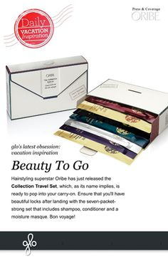 Ensure that you'll have beautiful locks while traveling with the Oribe Collection Travel Set: a seven-packet set that includes shampoo, conditioner, and the Signature Moisture Masque. Bon voyage!