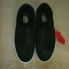 Black Van's Black slip on Van's..sparkly  black Vans Shoes