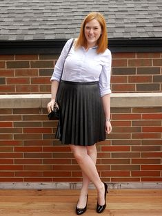 pleated leather skirt + oxford // @kristinadoes - Kristina does the Internets