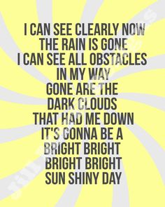 The Sunshine Collection Printable No 4 I Can See Clearly Now Song Lyric Quotes, Music Lyrics, Music Quotes, Lyric Art, Music Love, Music Is Life, My Music, Rock Music, Now Quotes