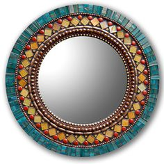 Zetamari Mosaic Round Mirror in Butterfly. Zetamari mirrors are inspired by the rhythm and symmetry of Moroccan art and architecture. Artistic Artisan Designer Mirrors handmade in the USA Mosaic Artwork, Mirror Mosaic, Mosaic Wall, Mosaic Glass, Glass Art, Mirror Mirror, Sea Glass, Mosaic Projects, Stained Glass Projects