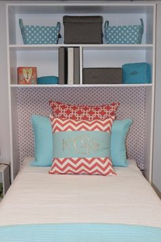 Get a shelf and put in over me bed for my dorm
