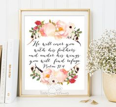 He will cover you Nursery Bible verse wall art print decor Psalm 91:4 scripture art Christian decor verses for the wall decoration 156