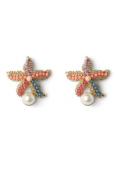 Starfish Earrings with Pearl Decor - Earrings - Accessory - Retro, Indie and Unique Fashion