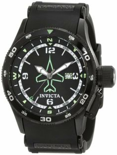 Invicta Men's 1763 Aviator Flight Black Dial Black Polyurethane Watch Invicta. $103.10. Date function. Water-resistant to 100 M (330 feet). Flame-fusion crystal; brushed 18k black ion-plated stainless steel case; black polyurethane strap with black ion-plated stainless steel barrel inserts. Swiss quartz movement. Black dial with black and white hands, white hour markers and arabic numerals and green airplane insignia; luminous; black ion-plated bezel with black ...